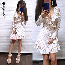 Шикарное летнее платье в горохи, размеры С (42-44) М(46-48), фото 3