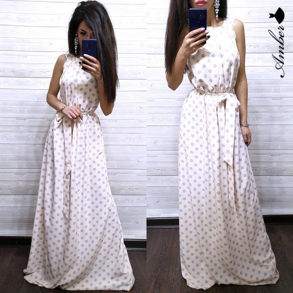 Шикарное летнее платье в горохи, размеры С (42-44) М (46-48)