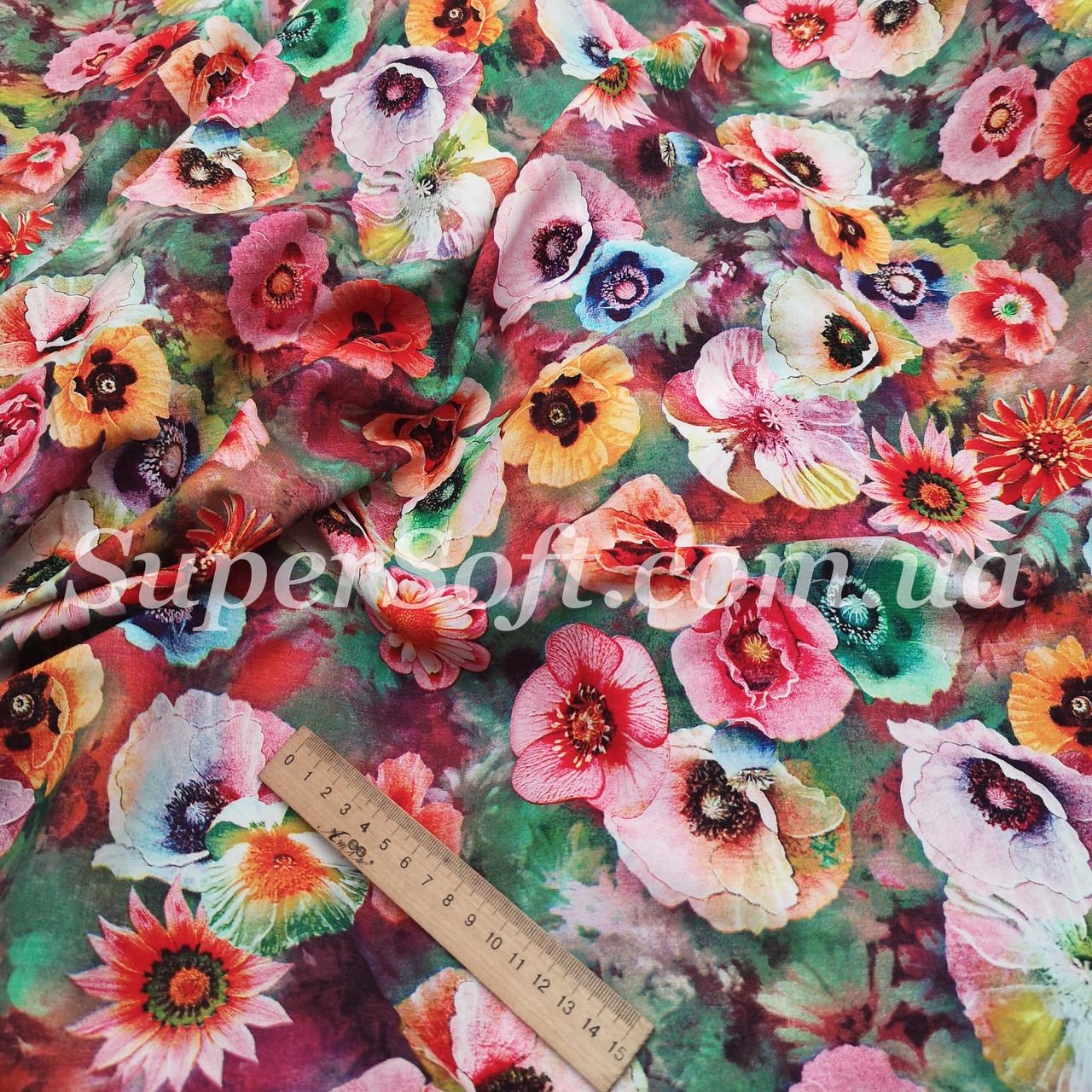 Ткань штапель принт с цветочками