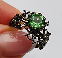 Эксклюзив Кольцо с чешским 1.75ct Paraiba Green молдавитом (тектит) 8 мм