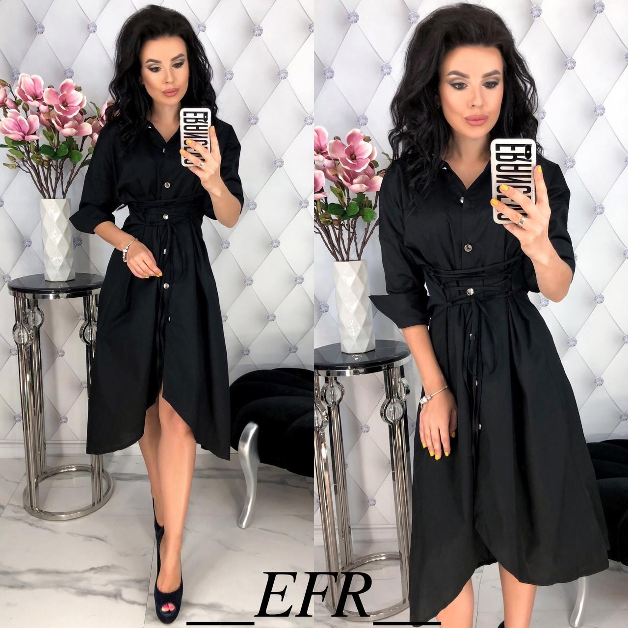 Длинное платье-рубашка со шнуровкой