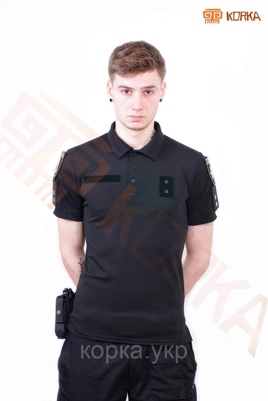 Поло футболка CoolMax Полиция Черное