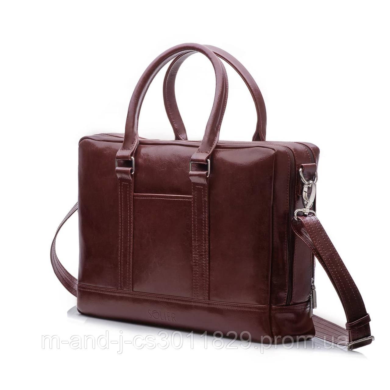 59e7a92cd99e Кожаная сумка на плечо для ноутбука и документов Каштановая Solier SL02 -  Интернет-магазин компании