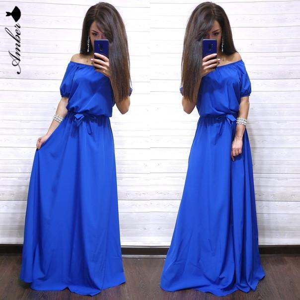 Длинное шикарное платье с открытыми плечами, размер 42-44, 46-48