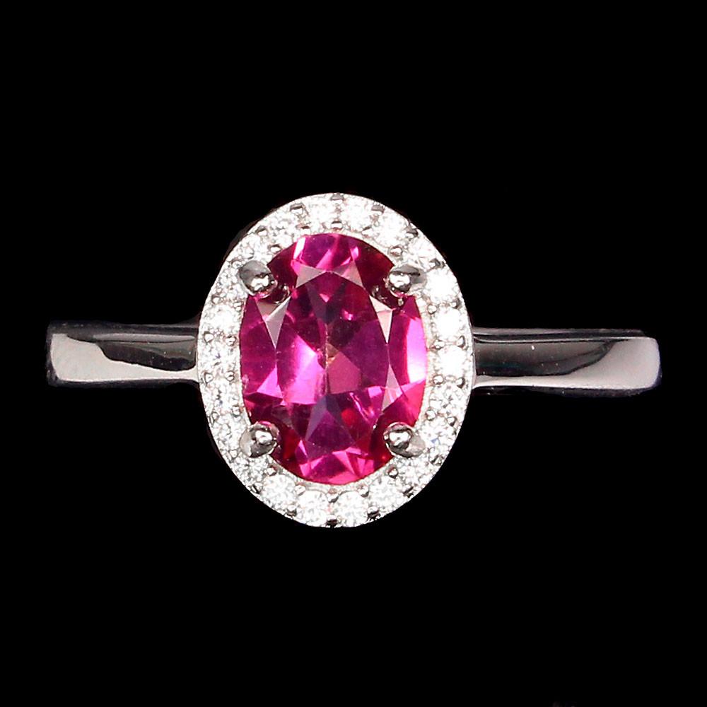 Кольцо с натуральным розовым Топазом и фианитами