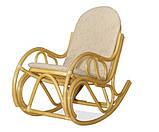 Крісло гойдалка з ротангу з подушкою, фото 3