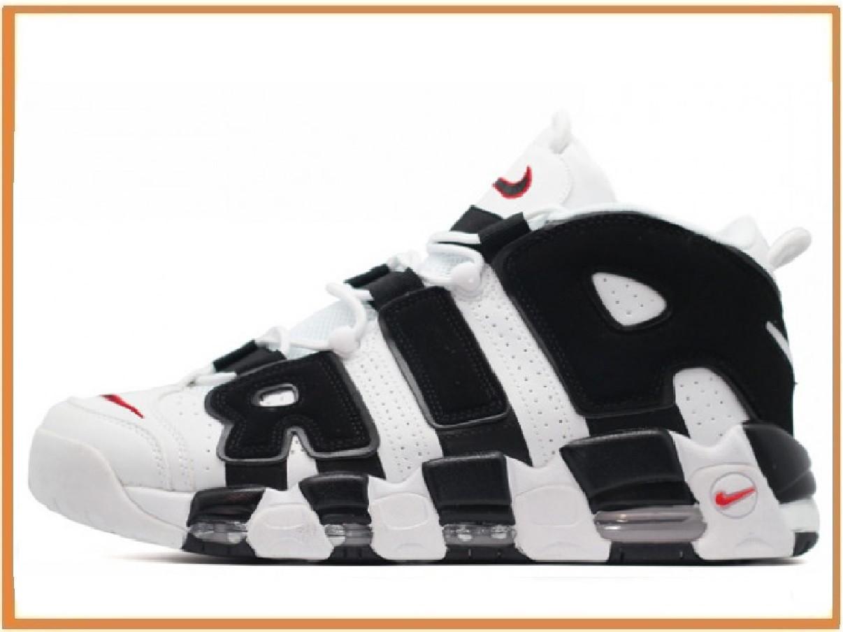 9b93e682 Мужские кроссовки Nike Air More Uptempo White Black (найк аптемпо аир море,  белые /