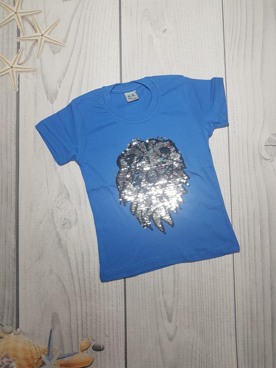 Детская футболка с пайетками-перевертыши для мальчика Лев 5-8 лет оптом