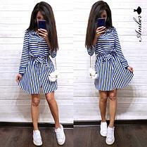 Летнее модное платье-рубашка под поясок, размер с м, фото 2