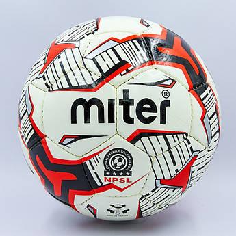 Мяч футбольный №5 PU ламин. MITER (№5, 5 сл., сшит вручную, цвета в ассортименте) Белый-синий