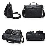 Сумка-портфель з кишенями чорна, фото 3