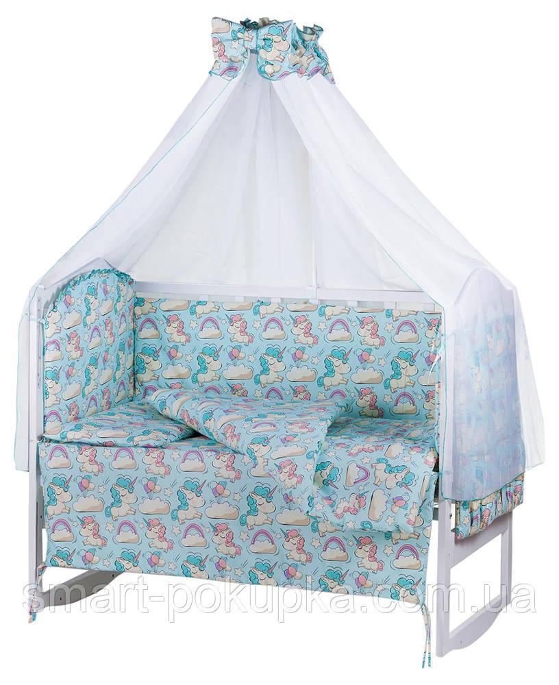 Детская постель Babyroom Comfort-08 unicorn голубой (единороги)