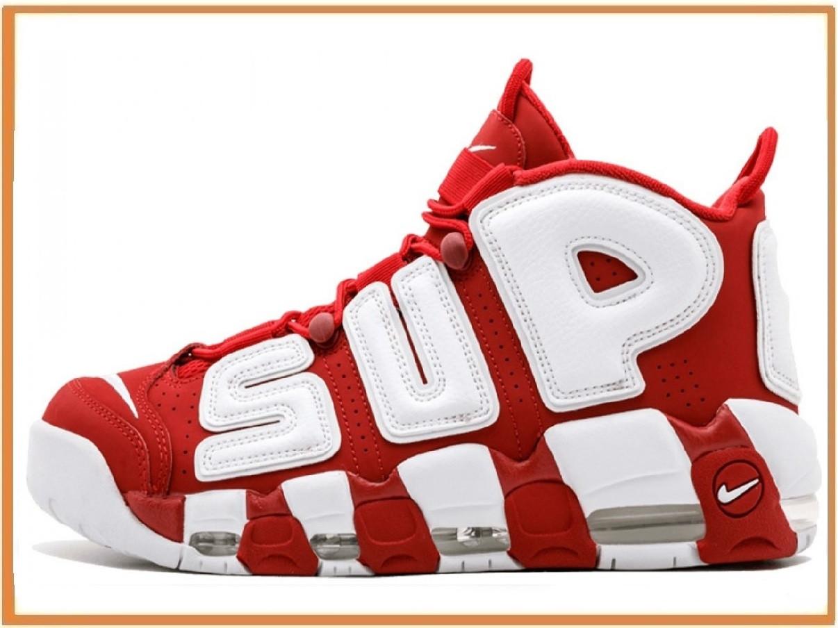 14f3f7df Мужские кроссовки Nike Air More Uptempo x Supreme Red White (найк аптемпо  аир море суприм