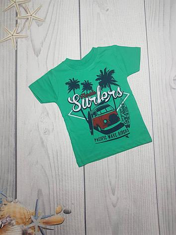 Детская стильная  футболка для мальчика Пальмы 3-7 лет оптом, фото 2