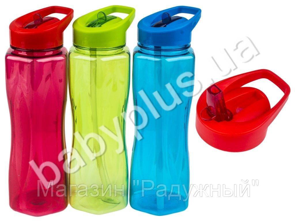 Бутылка-поилка спортивная пластиковая с трубочкой 900мл