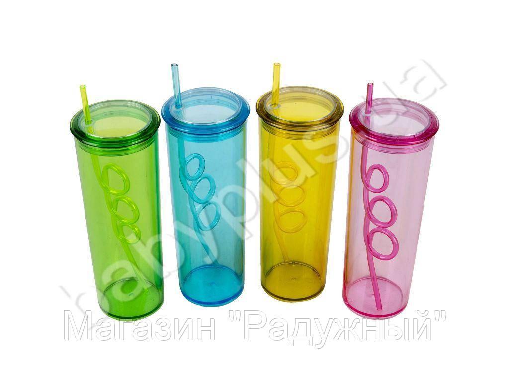Бутылочка стакан с трубочкой и крышкой, 450 мл, 3 цвета, в кульке