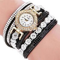 Наручные женские часы со стразами черный ремешок код 288