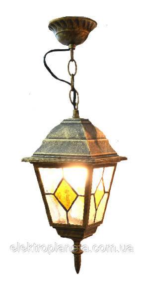 Светильник садово-парковый 652S античное золото/витражное стекло