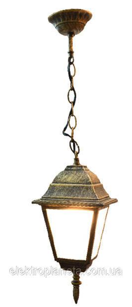 Светильник садово-парковый 652S античное золото/матовое стекло