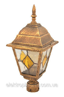 Светильник садово-парковый 662S античное золото/витражное стекло