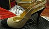 Босоножки туфли от Валентина Юдашкина эко замша  бежевые с черным, фото 4