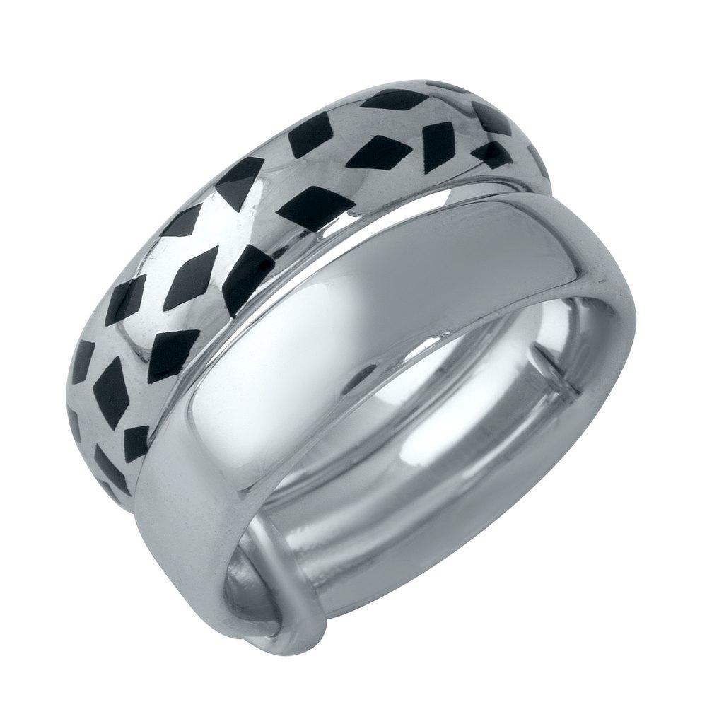 Родированное серебряное кольцо 925 пробы с емаллю