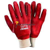 Перчатки трикотажные с полным ПВХ покрытием р10 (красные манжет) 120пар sigma 9444371