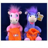 Мягкая игрушка озвученная Лошадка с сумкой №1339,развлекательные игрушки, подарки для малышей, мягкие игрушки