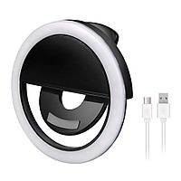 Вспышка-подсветка для телефона селфи-кольцо Selfie Ring Light RK-12 Black Original