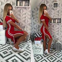 Стильное модное платье с разрезом и манжетами красное 42-44 S-M, фото 1