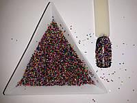 Разноцветные бульонки для дизайна ногтей, микробусины, микробисер для ногтей . Материал стекло.