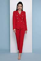 Червоні жіночі брюки високої посадки, фото 1