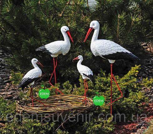 Садовая фигура Семья садовых аистов в гнезде №36, фото 2