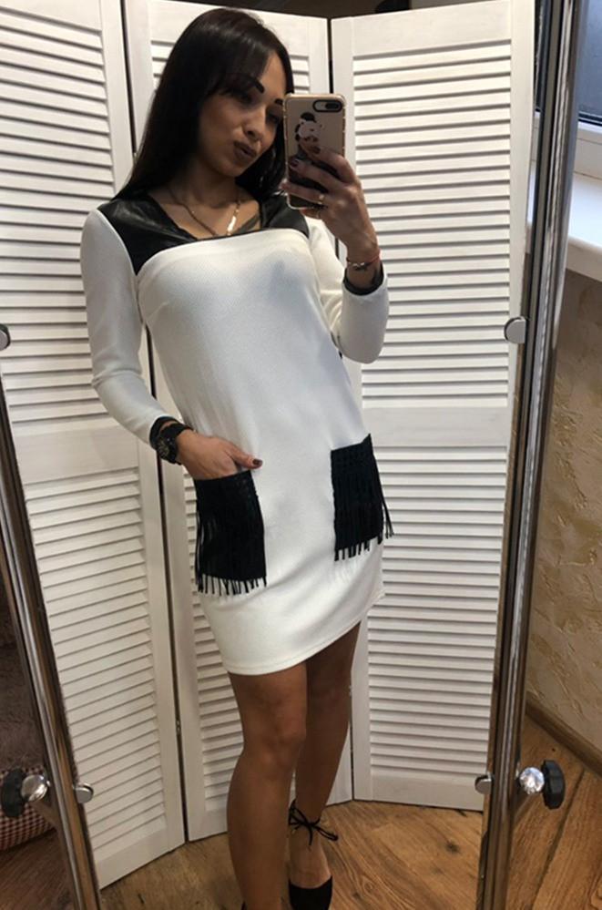 Женское платье с карманами белое Уценка