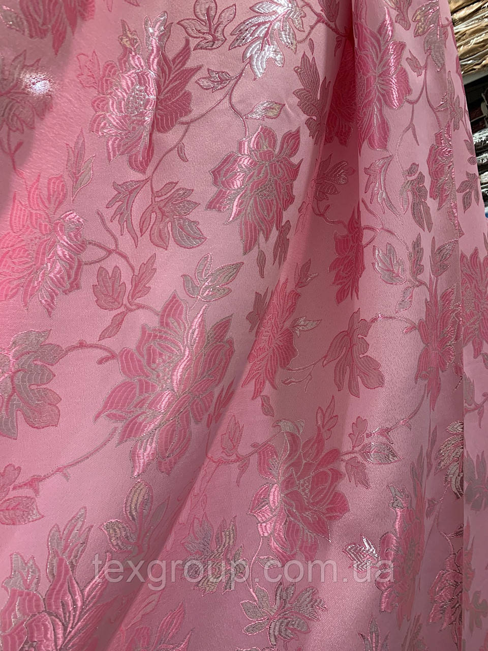 Шторы жаккард 1.5м розовая  D3