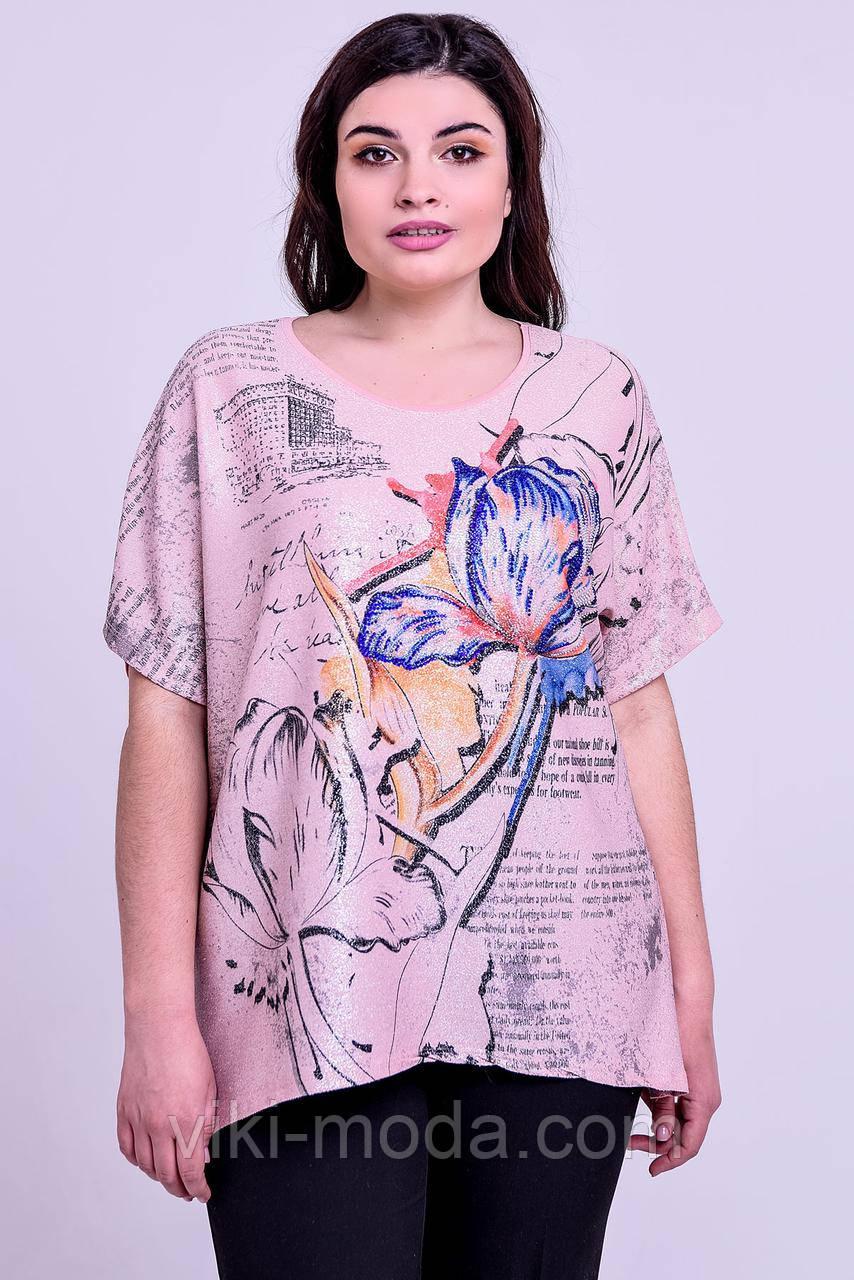 Летняя женская футболка большого размера Маргарита, свободного кроя, фото 1