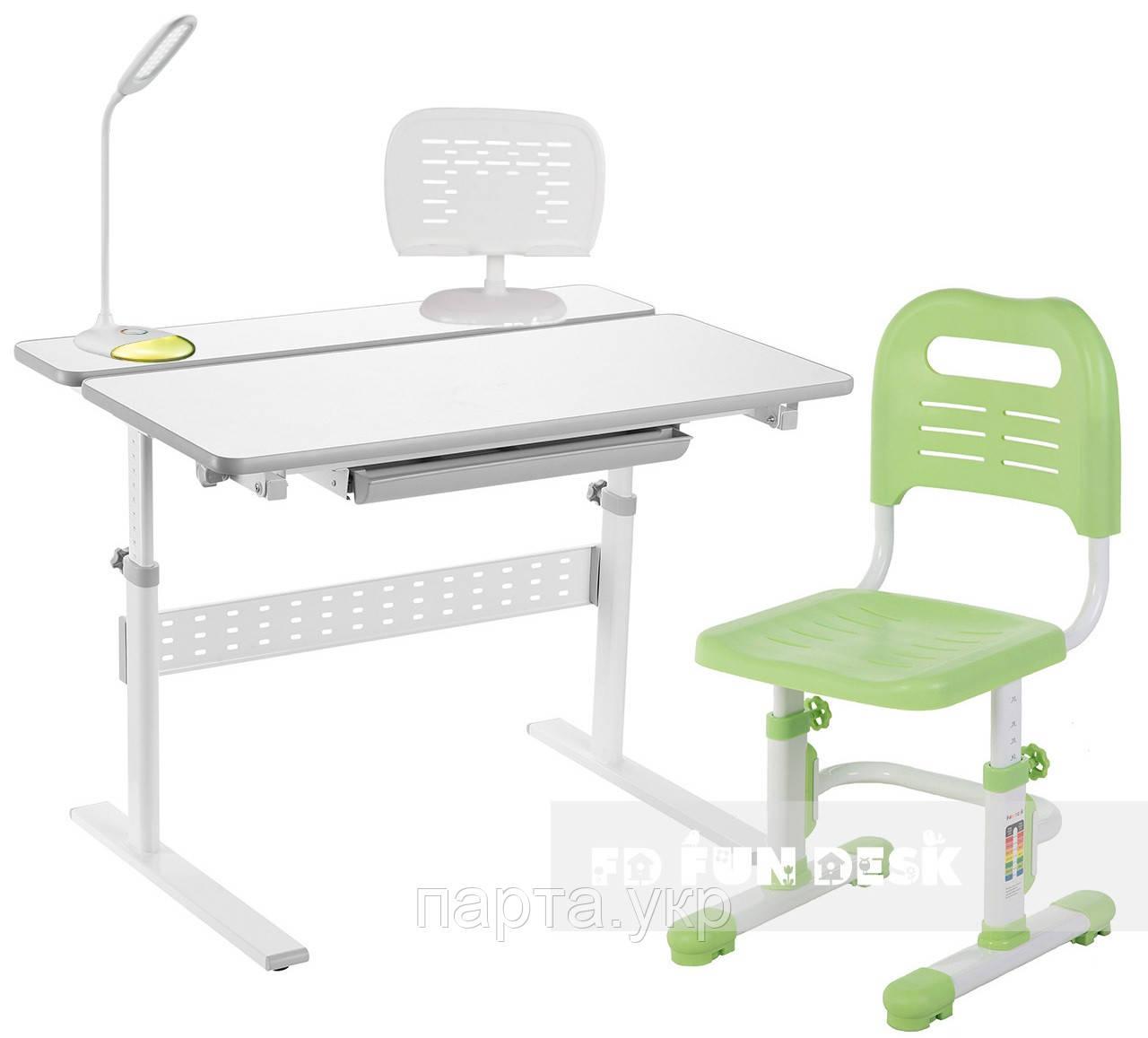 Комплект парта Colore Grey + детское кресло, лампа и подставка