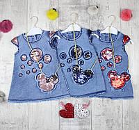 Сарафаны детские джинсовые оптом на лето № 1975, фото 1