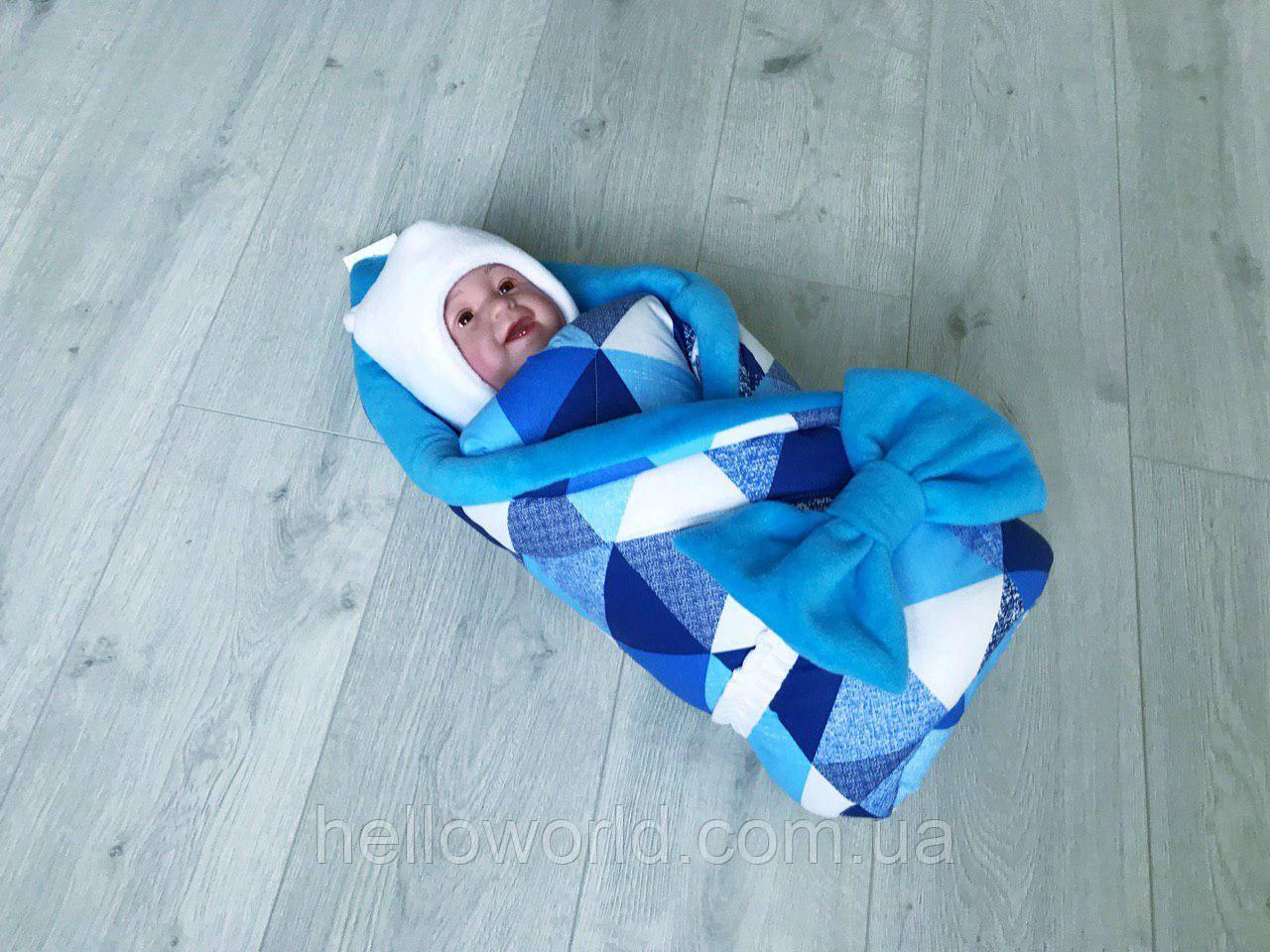 Плед-конверт голубой Квадратики