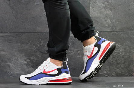 Модные кроссовки Nike Air Max 270 React,белый с синим, фото 2
