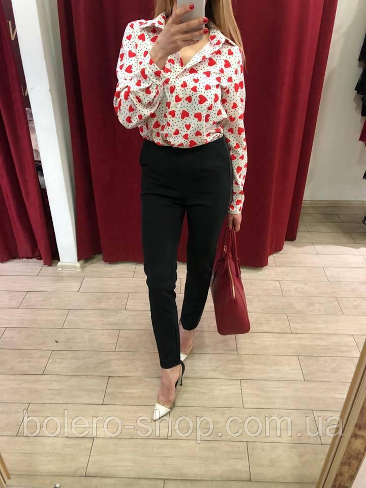 Блуза рубашка женская сердечки Италия