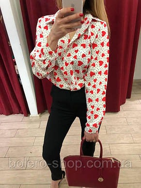 Блуза рубашка женская сердечки Италия, фото 2