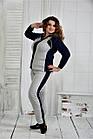 Спортивный костюм женский стильный серый с синим большого размера 42-74. 0408-1, фото 2