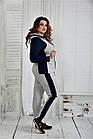 Спортивный костюм женский стильный серый с синим большого размера 42-74. 0408-1, фото 3
