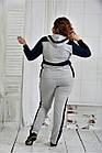 Спортивный костюм женский стильный серый с синим большого размера 42-74. 0408-1, фото 4