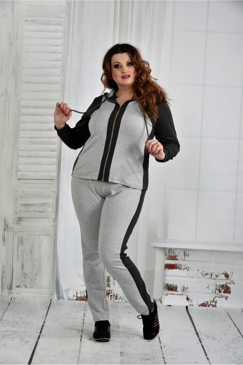 Спортивный костюм женский молодежный серый большого размера 42-74. 0408-3