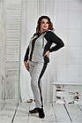 Спортивный костюм женский молодежный серый большого размера 42-74. 0408-3, фото 2