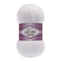 Пряжа Alize Cotton Gold 55 белый (Ализе Коттон Голд) хлопок акрил