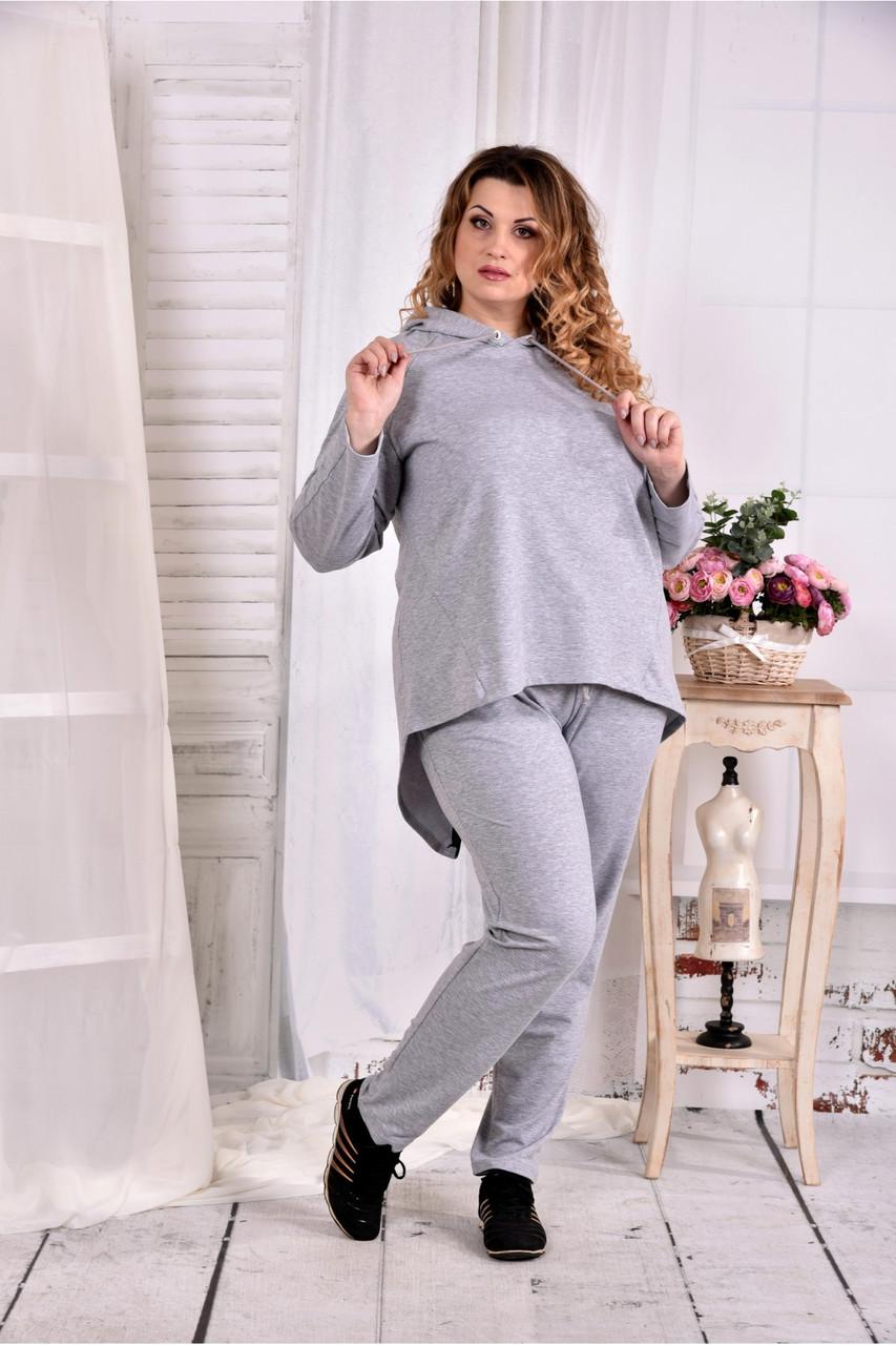 Сірий спортивний костюм з двухнитки великого розміру 0567-1