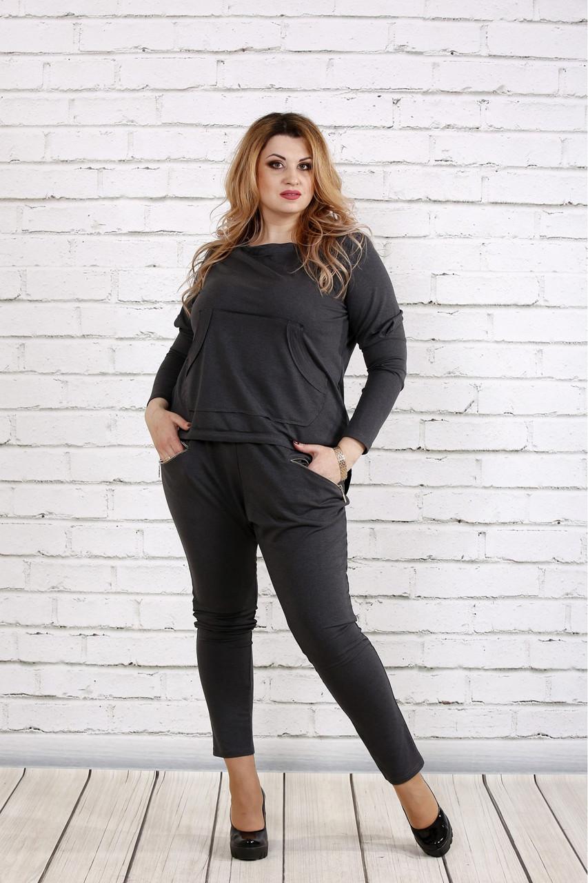 Стильный и практичный темно-серый костюм  большого размера   0738-2